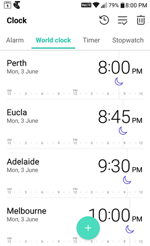 Clock App with 4 time zones