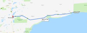 Drive map - Border Village Roadhouse (SA) to Norseman (WA)
