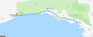 Drive map from Ceduna (SA) to Border Village Roadhouse (SA)