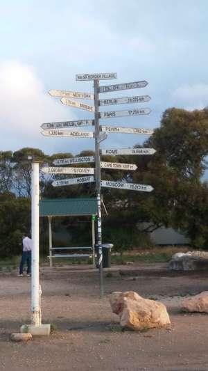 Signpost at Border Village Roadhouse (border of SA & WA)