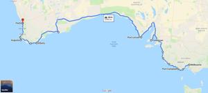 Melbourne to Perth - Coastal route